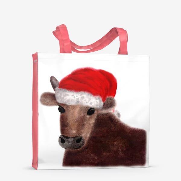 Сумка-шоппер «Новогодний бык Гриша в красном колпаке»