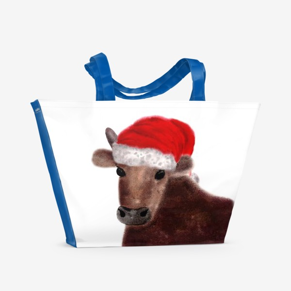 Пляжная сумка «Новогодний бык Гриша в красном колпаке»