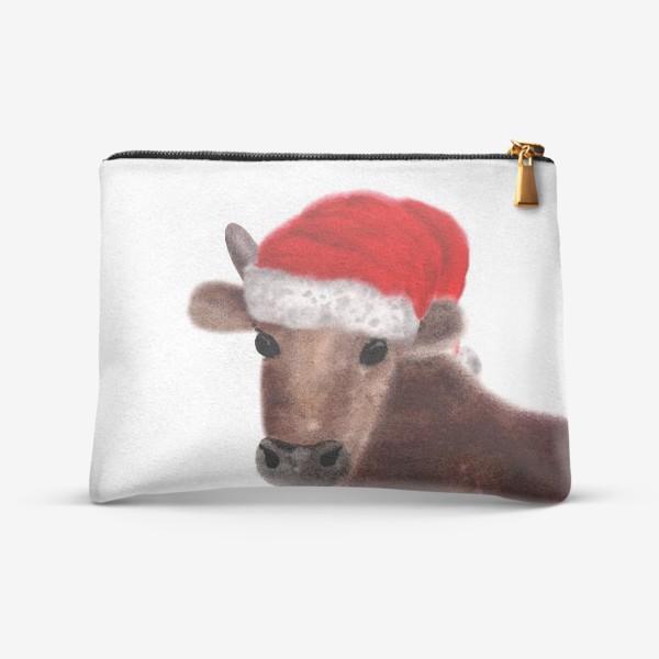 Косметичка «Новогодний бык Гриша в красном колпаке»