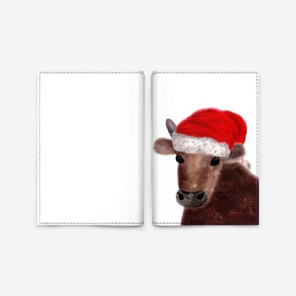 Обложка для паспорта «Новогодний бык Гриша в красном колпаке»