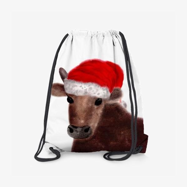 Рюкзак «Новогодний бык Гриша в красном колпаке»