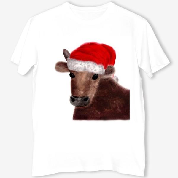 Футболка «Новогодний бык Гриша в красном колпаке»