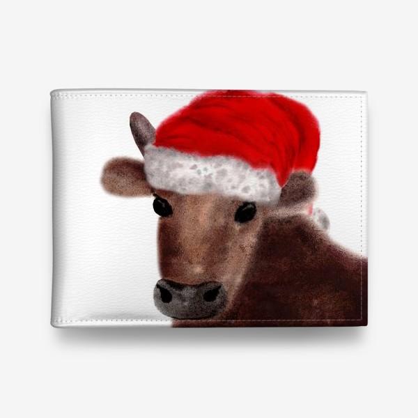 Кошелек «Новогодний бык Гриша в красном колпаке»