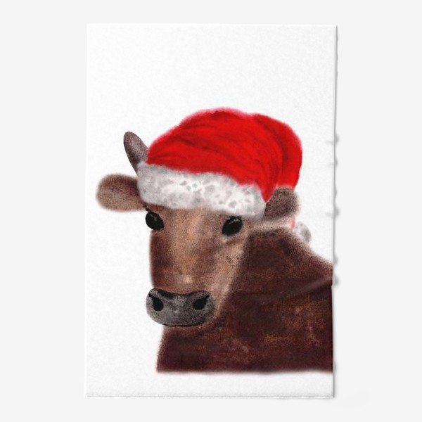 Полотенце «Новогодний бык Гриша в красном колпаке»