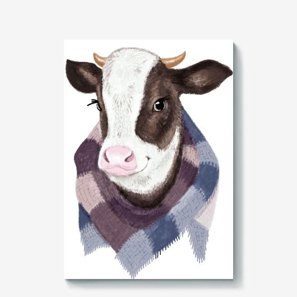 Холст «Корова в вязаном шарфике»