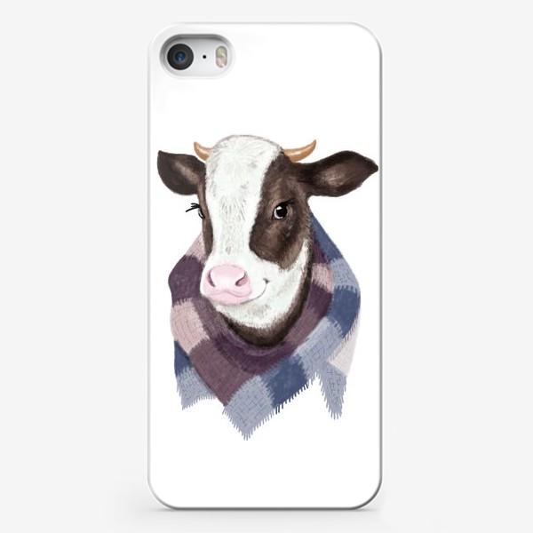 Чехол iPhone «Корова в вязаном шарфике»