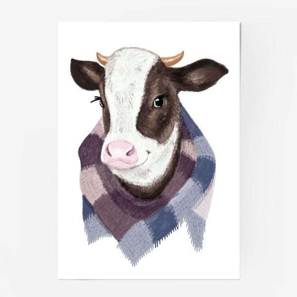 Постер «Корова в вязаном шарфике»