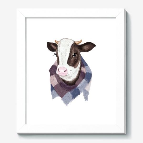Картина «Корова в вязаном шарфике»