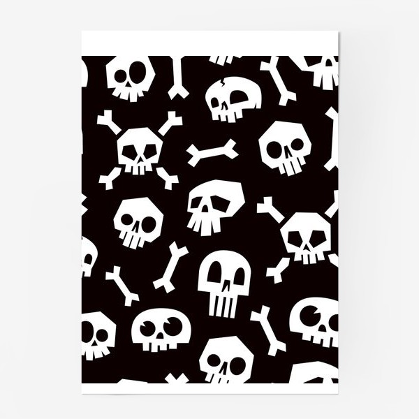 Постер «Черепа и кости. Абстрактный геометрический паттерн.»