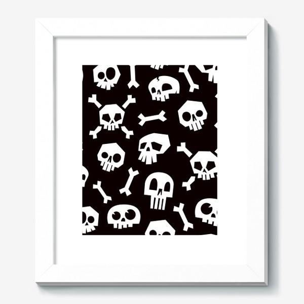 Картина «Черепа и кости. Абстрактный геометрический паттерн.»