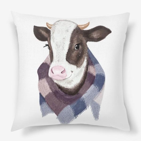 Подушка «Корова в вязаном шарфике»
