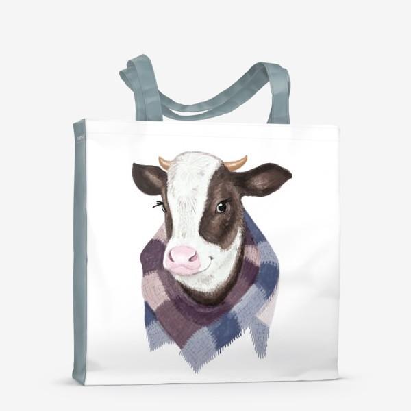 Сумка-шоппер «Корова в вязаном шарфике»