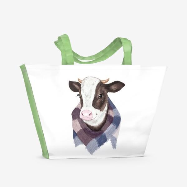 Пляжная сумка «Корова в вязаном шарфике»