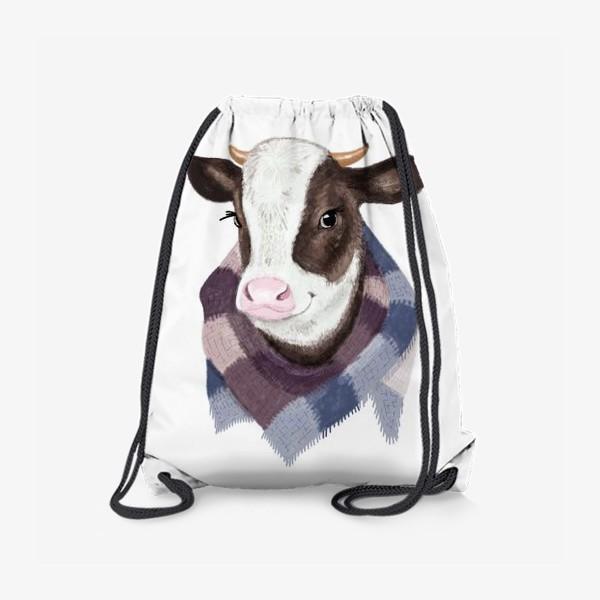 Рюкзак «Корова в вязаном шарфике»