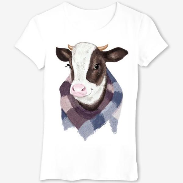 Футболка «Корова в вязаном шарфике»