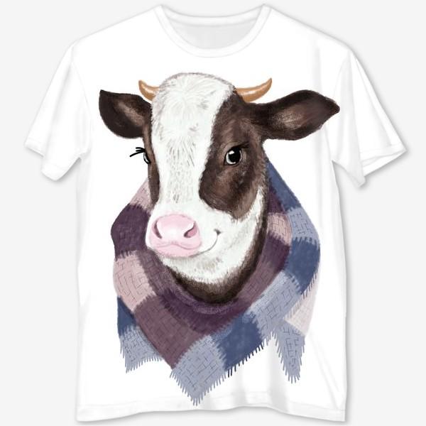 Футболка с полной запечаткой «Корова в вязаном шарфике»