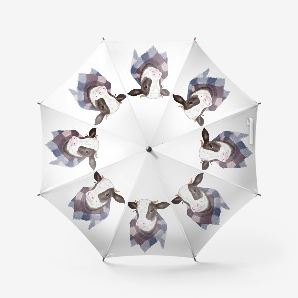 Зонт «Корова в вязаном шарфике»