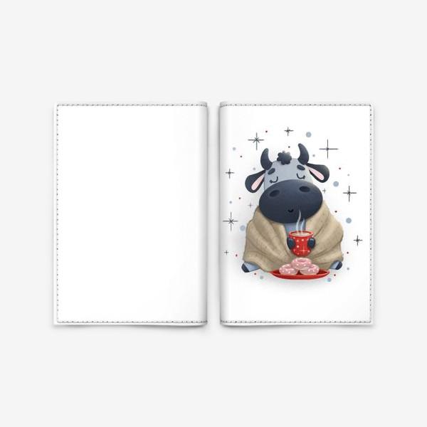 Обложка для паспорта «Бык в уютном пледе с какао»
