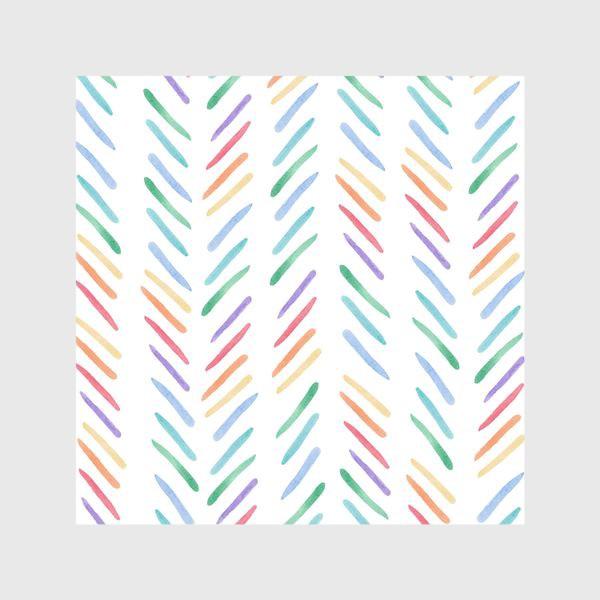 Шторы «Разноцветные полоски шеврон радуга»