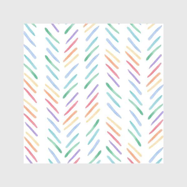 Скатерть «Разноцветные полоски шеврон радуга»
