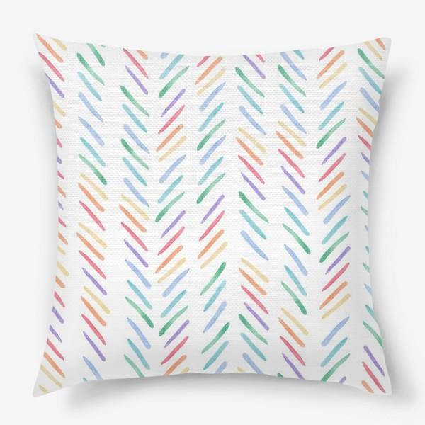 Подушка «Разноцветные полоски шеврон радуга»