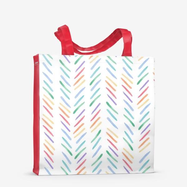 Сумка-шоппер «Разноцветные полоски шеврон радуга»