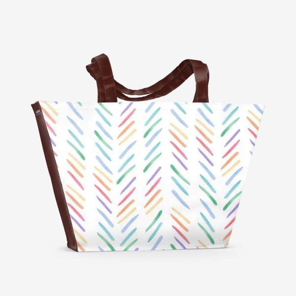 Пляжная сумка «Разноцветные полоски шеврон радуга»