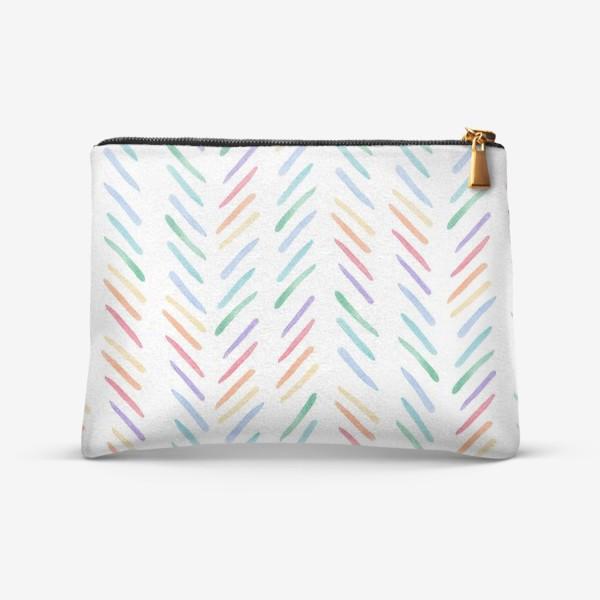 Косметичка «Разноцветные полоски шеврон радуга»