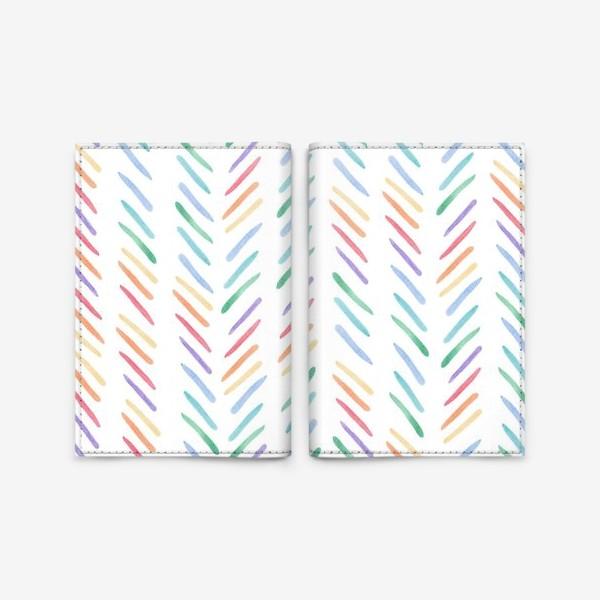 Обложка для паспорта «Разноцветные полоски шеврон радуга»