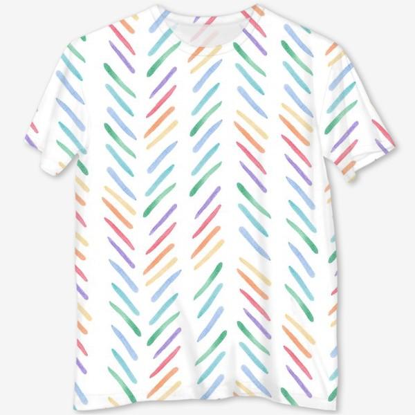 Футболка с полной запечаткой «Разноцветные полоски шеврон радуга»