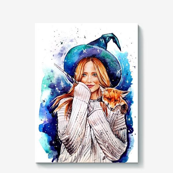 Холст «ведьмочка с лисой»