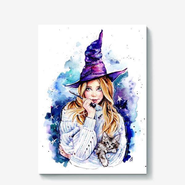 Холст «ведьмочка с котом»