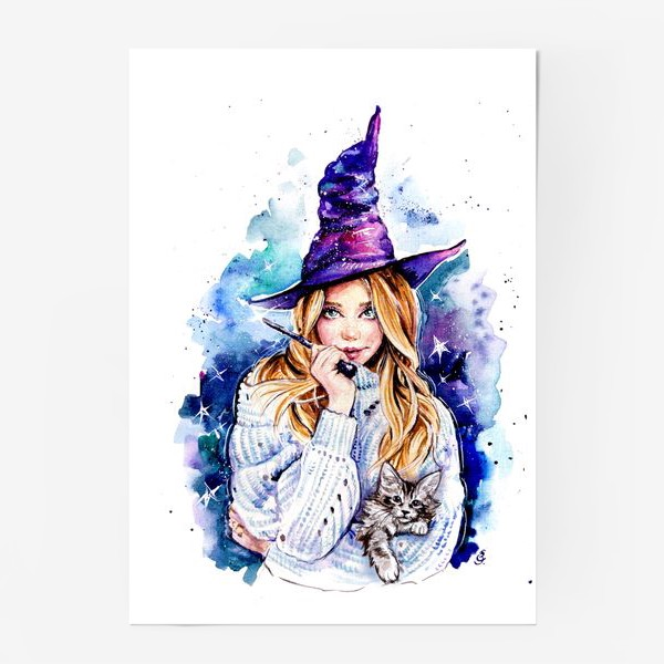 Постер «ведьмочка с котом»