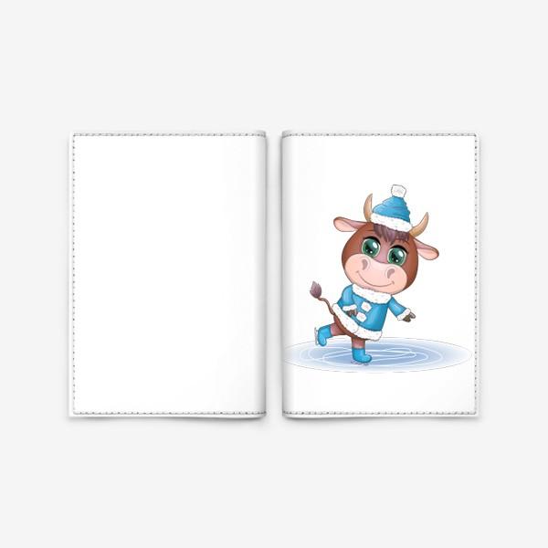 Обложка для паспорта «Бык, символ 2021 года, бык катается на коньках»