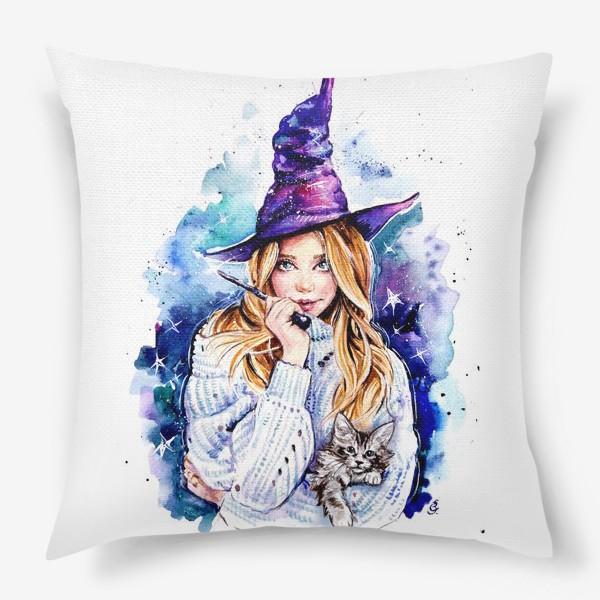 Подушка «ведьмочка с котом»