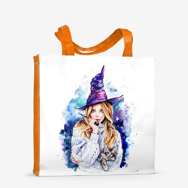Сумка-шоппер «ведьмочка с котом»