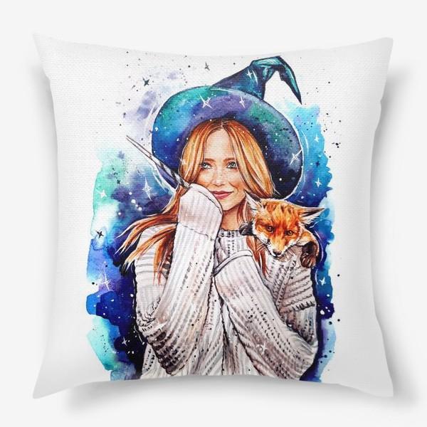 Подушка «ведьмочка с лисой»