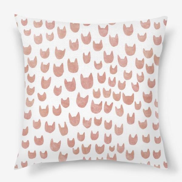 Подушка «Акварельные коричневые кошачьи мордочки»