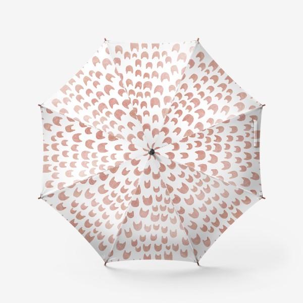 Зонт «Акварельные коричневые кошачьи мордочки»