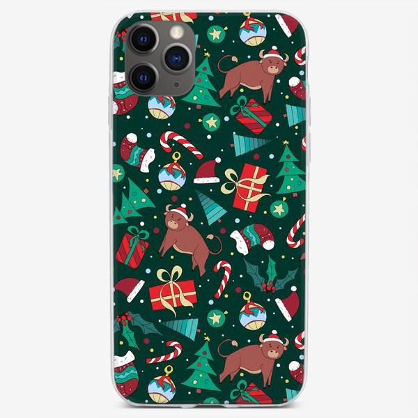 Чехол iPhone «Новогодний паттерн Год быка 2021»