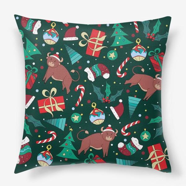 Подушка «Новогодний паттерн Год быка 2021»