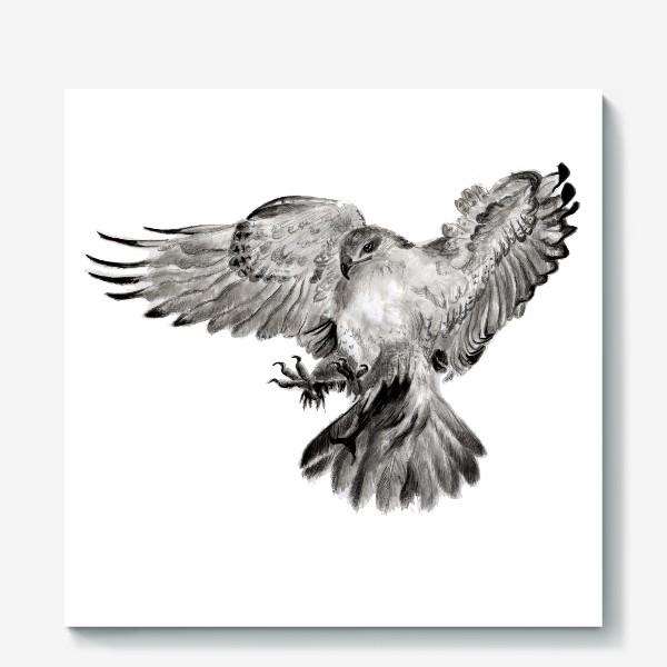Холст «Орел расправил крылья и летит в прыжке»