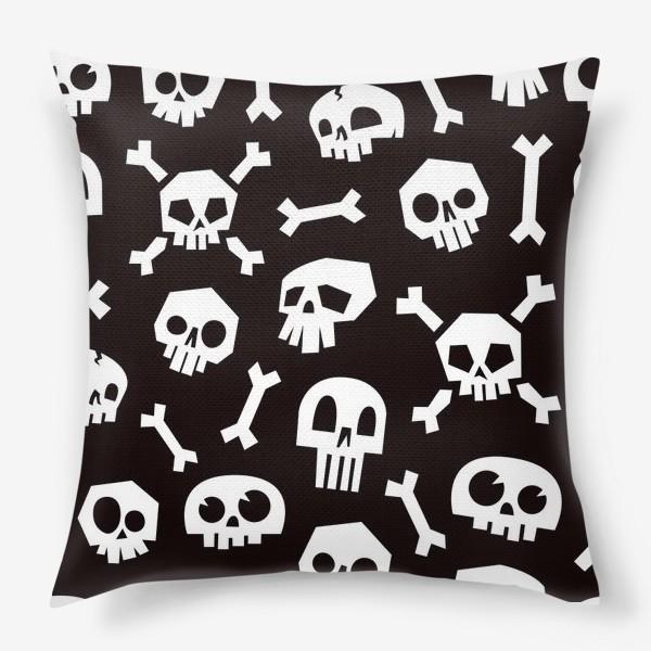 Подушка «Черепа и кости. Абстрактный геометрический паттерн.»