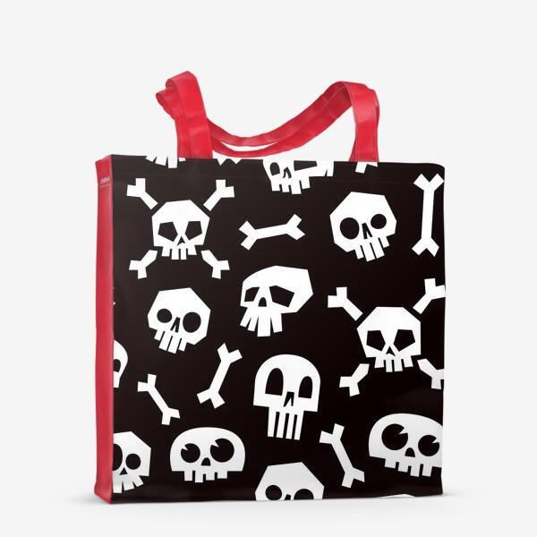 Сумка-шоппер «Черепа и кости. Абстрактный геометрический паттерн.»