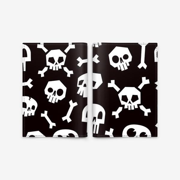 Обложка для паспорта «Черепа и кости. Абстрактный геометрический паттерн.»