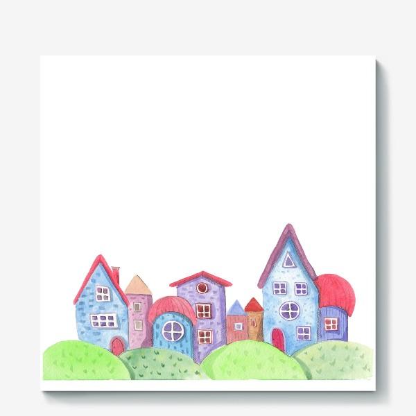 Холст «Акварельные домики»