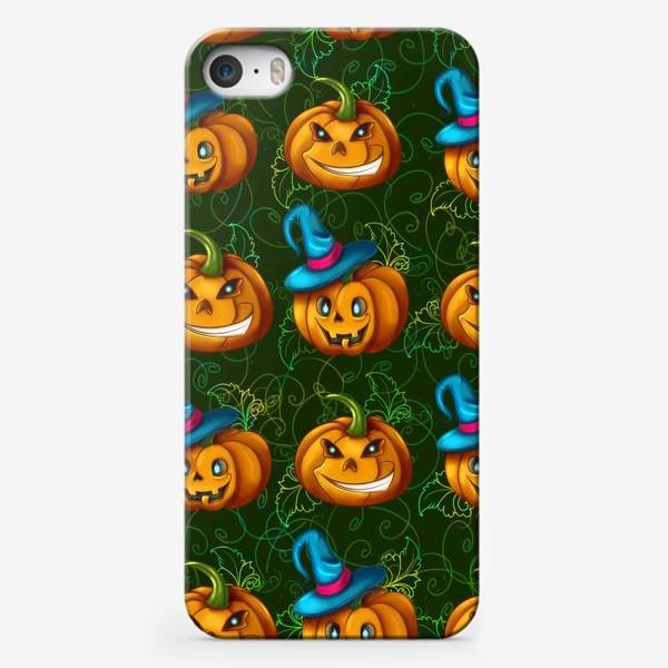 Чехол iPhone «Тыквы в шляпе на зеленом фоне»