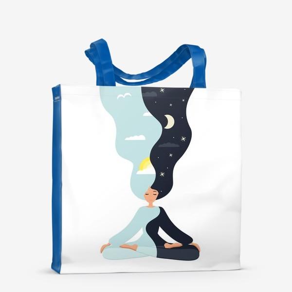 Сумка-шоппер «Йога. Девушка медитирует в позе лотоса. День и ночь. Близнецы»