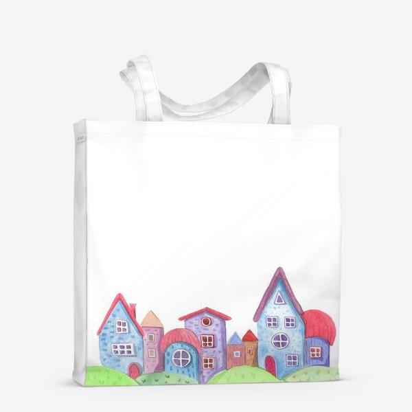 Сумка-шоппер «Акварельные домики»