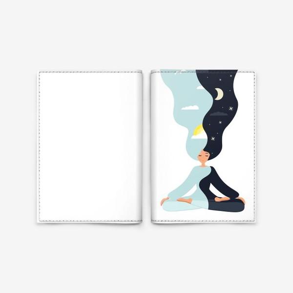 Обложка для паспорта «Йога. Девушка медитирует в позе лотоса. День и ночь. Близнецы»